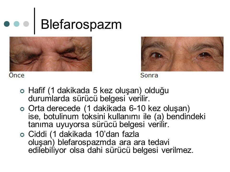 Blefarospazm Hafif (1 dakikada 5 kez oluşan) olduğu durumlarda sürücü belgesi verilir. Orta derecede (1 dakikada 6-10 kez oluşan) ise, botulinum toksi