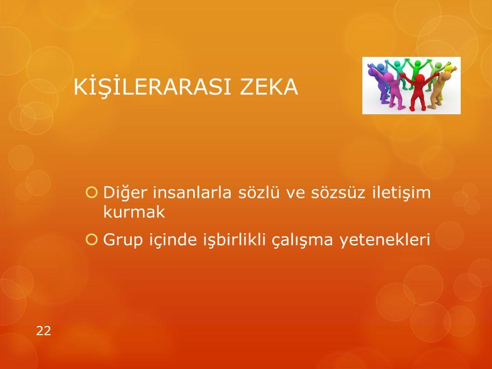 KİŞİLERARASI ZEKA  Diğer insanlarla sözlü ve sözsüz iletişim kurmak  Grup içinde işbirlikli çalışma yetenekleri 22