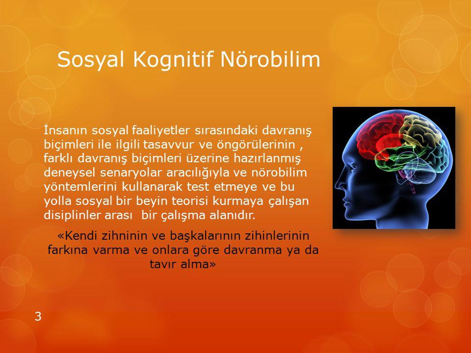 Sosyal Kognitif Nörobilim İnsanın sosyal faaliyetler sırasındaki davranış biçimleri ile ilgili tasavvur ve öngörülerinin, farklı davranış biçimleri üz