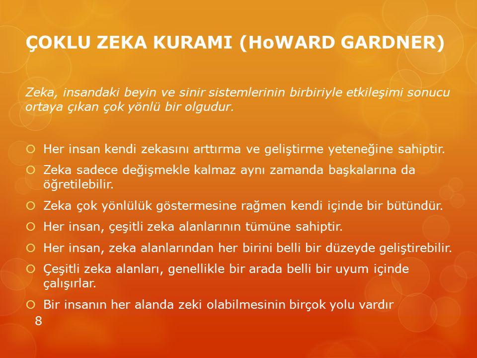 ÇOKLU ZEKA KURAMI (HoWARD GARDNER) Zeka, insandaki beyin ve sinir sistemlerinin birbiriyle etkileşimi sonucu ortaya çıkan çok yönlü bir olgudur.  Her