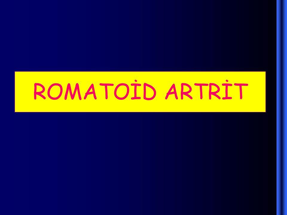 TANI KRİTERLERİ 1- Sabah Sertliği 2- Üç veya  Eklemde Artrit 3- El Eklemlerinde Artrit 4- Simetrik Artrit 5- Romatoid Nodüller 6- Radyografik Değişiklikler 7- Romatoid Faktör Pozitifliği ( 4 veya  kriterin olması  RA tanısı konur.)