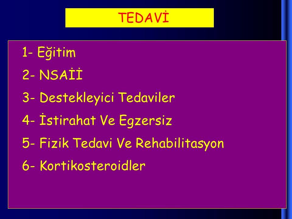 TEDAVİ 1- Eğitim 2- NSAİİ 3- Destekleyici Tedaviler 4- İstirahat Ve Egzersiz 5- Fizik Tedavi Ve Rehabilitasyon 6- Kortikosteroidler