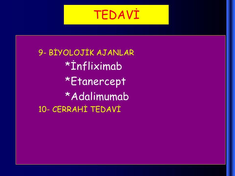 TEDAVİ 9- BİYOLOJİK AJANLAR *İnfliximab *Etanercept *Adalimumab 10- CERRAHİ TEDAVİ