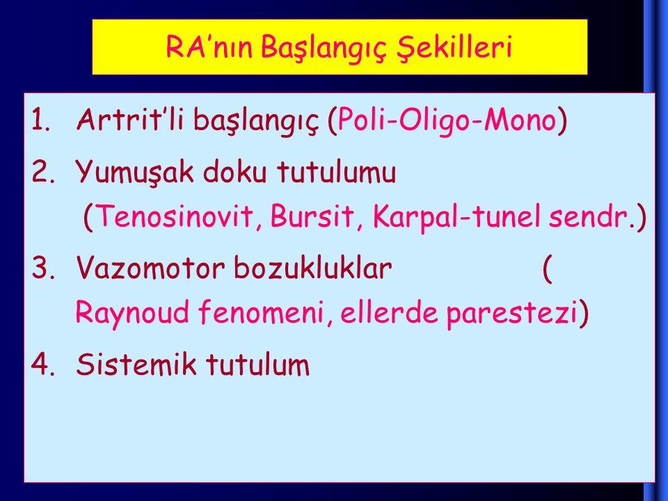 RA'nın Başlangıç Şekilleri 1.Artrit'li başlangıç (Poli-Oligo-Mono) 2.Yumuşak doku tutulumu (Tenosinovit, Bursit, Karpal-tunel sendr.) 3.Vazomotor bozu
