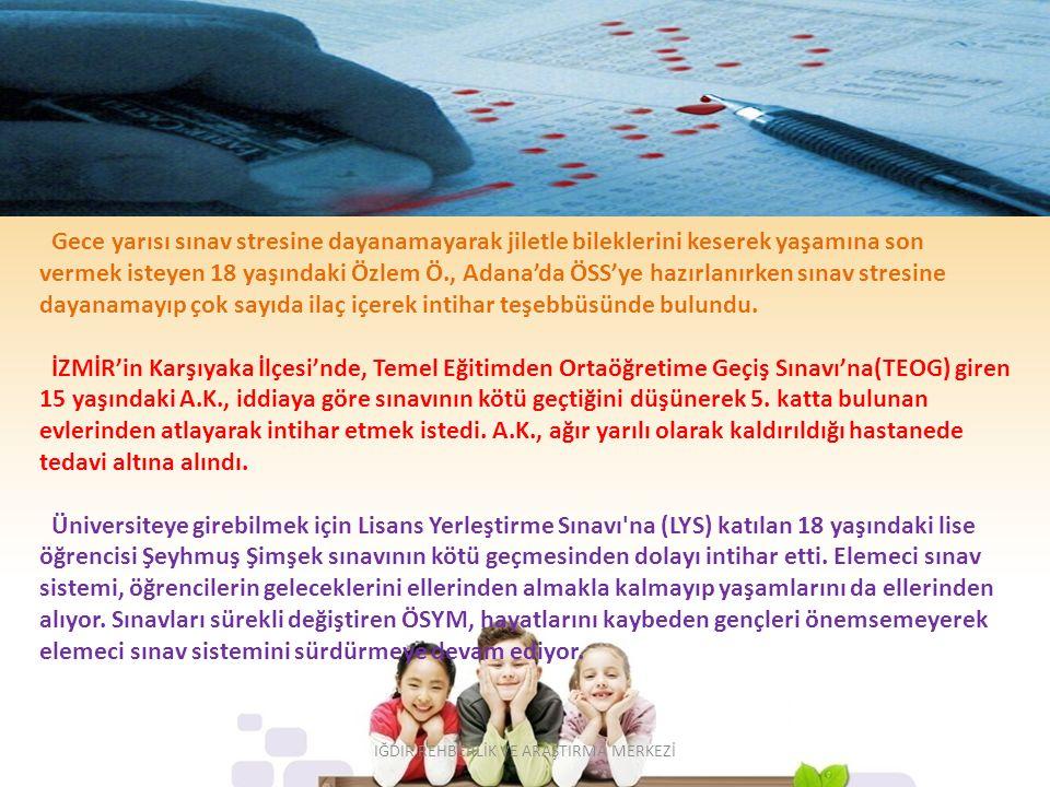 Gece yarısı sınav stresine dayanamayarak jiletle bileklerini keserek yaşamına son vermek isteyen 18 yaşındaki Özlem Ö., Adana'da ÖSS'ye hazırlanırken sınav stresine dayanamayıp çok sayıda ilaç içerek intihar teşebbüsünde bulundu.