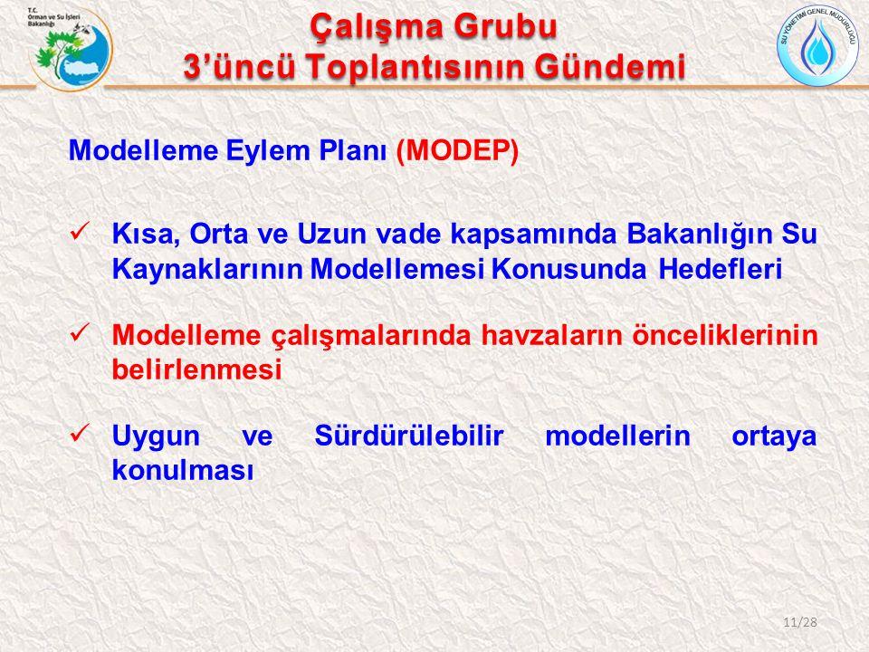 Modelleme Eylem Planı (MODEP) Kısa, Orta ve Uzun vade kapsamında Bakanlığın Su Kaynaklarının Modellemesi Konusunda Hedefleri Modelleme çalışmalarında havzaların önceliklerinin belirlenmesi Uygun ve Sürdürülebilir modellerin ortaya konulması 11/28 Çalışma Grubu 3'üncü Toplantısının Gündemi