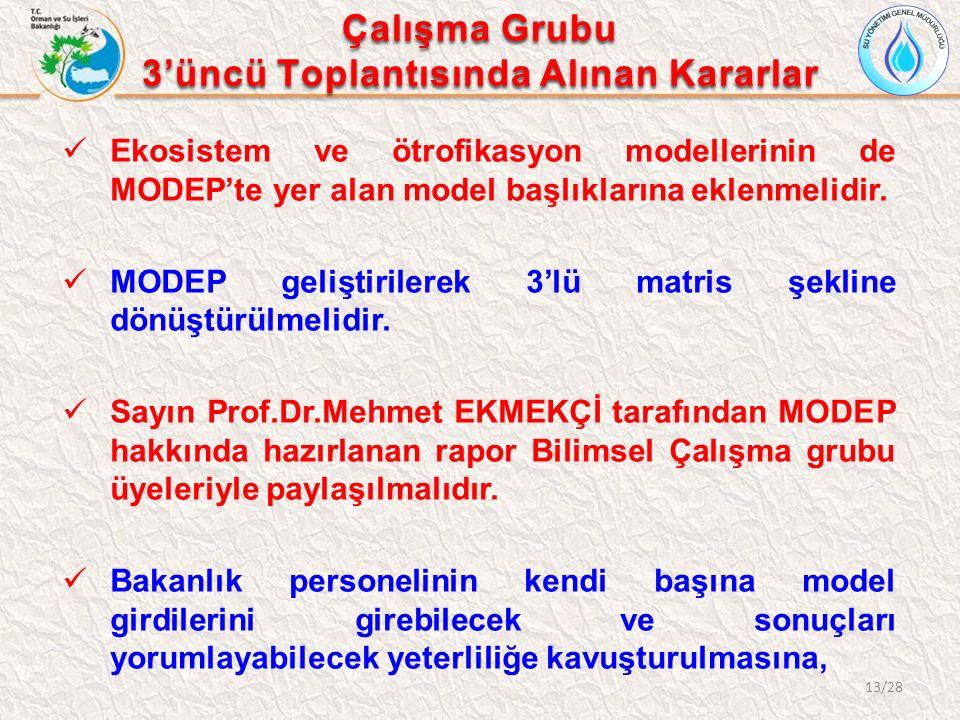 Ekosistem ve ötrofikasyon modellerinin de MODEP'te yer alan model başlıklarına eklenmelidir.