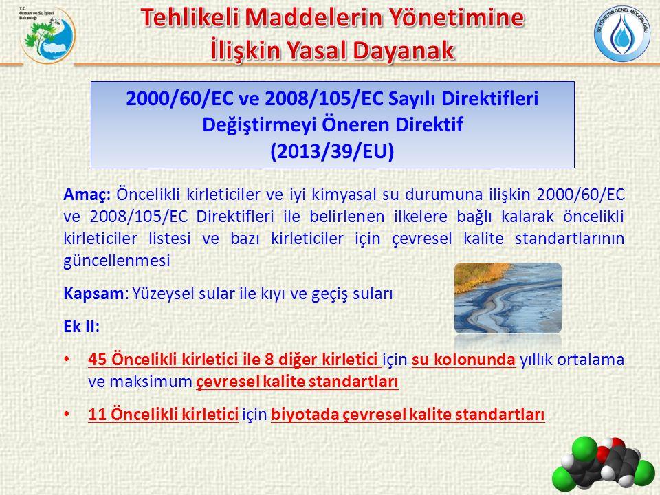 Amaç: Öncelikli kirleticiler ve iyi kimyasal su durumuna ilişkin 2000/60/EC ve 2008/105/EC Direktifleri ile belirlenen ilkelere bağlı kalarak öncelikl