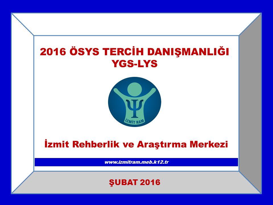 2016 ÖSYS TERCİH DANIŞMANLIĞI YGS-LYS www.izmitram.meb.k12.tr ŞUBAT 2016 İzmit Rehberlik ve Araştırma Merkezi