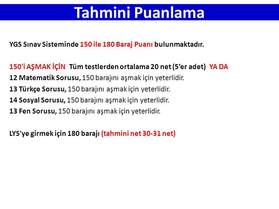 Tahmini Puanlama YGS Sınav Sisteminde 150 ile 180 Baraj Puanı bulunmaktadır. 150'i AŞMAK İÇİN Tüm testlerden ortalama 20 net (5'er adet) YA DA 12 Mate