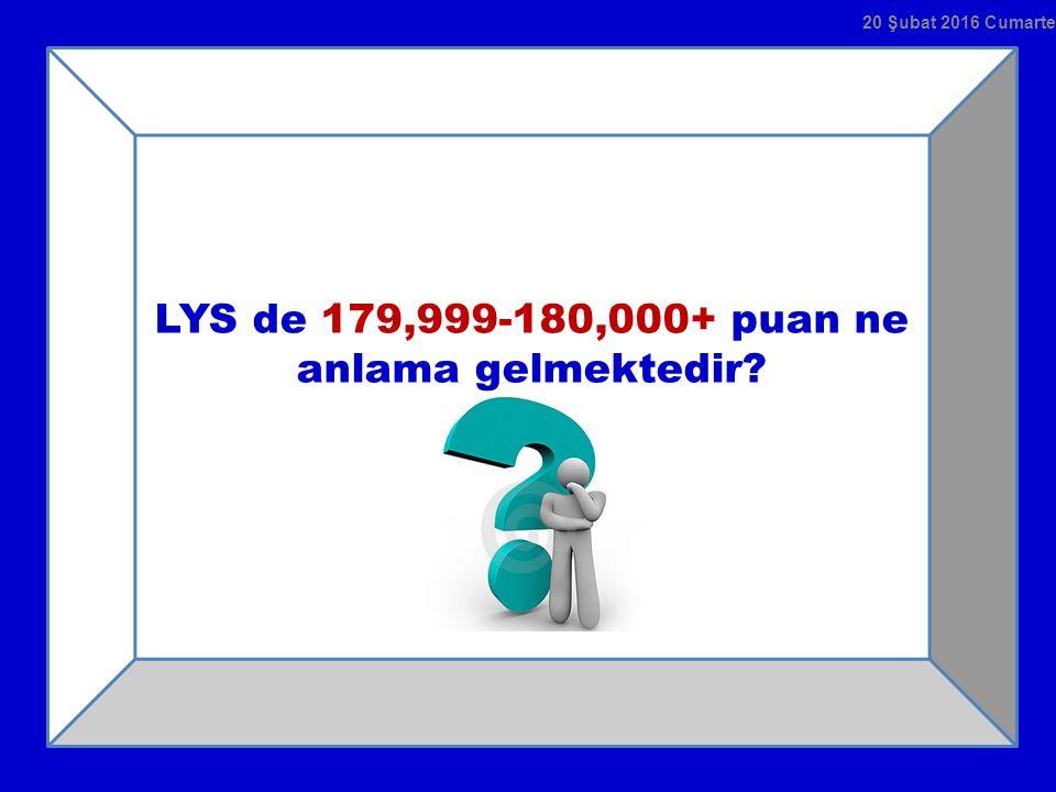 LYS de 179,999-180,000+ puan ne anlama gelmektedir? 20 Şubat 2016 Cumartesi