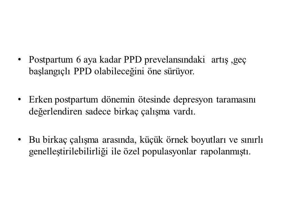 Postpartum 6 aya kadar PPD prevelansındaki artış,geç başlangıçlı PPD olabileceğini öne sürüyor.