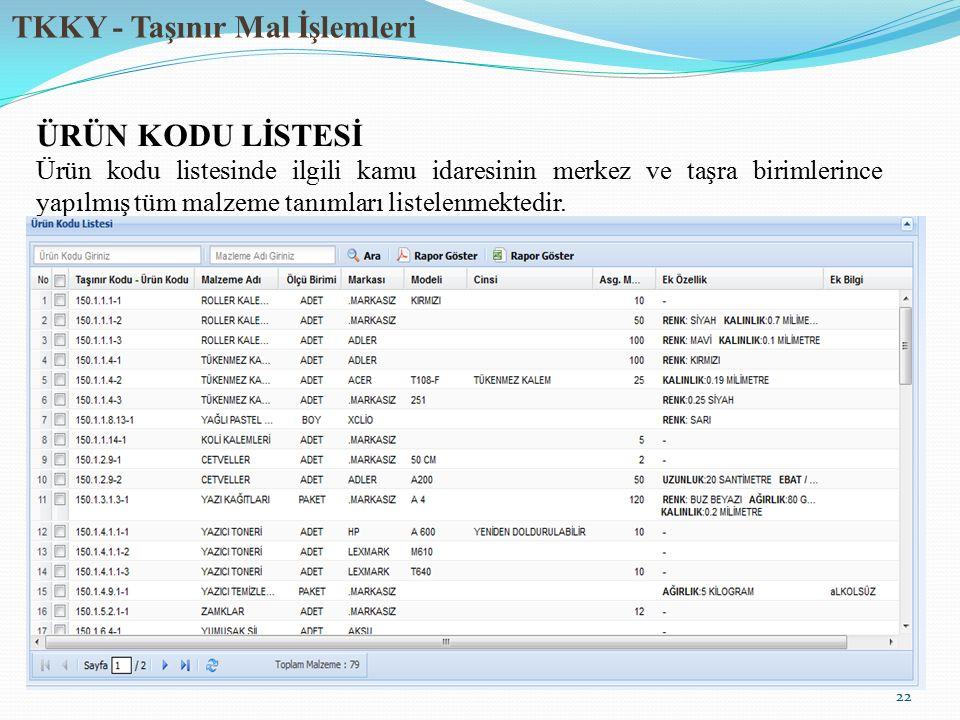 TKKY - Taşınır Mal İşlemleri 22 ÜRÜN KODU LİSTESİ Ürün kodu listesinde ilgili kamu idaresinin merkez ve taşra birimlerince yapılmış tüm malzeme tanıml