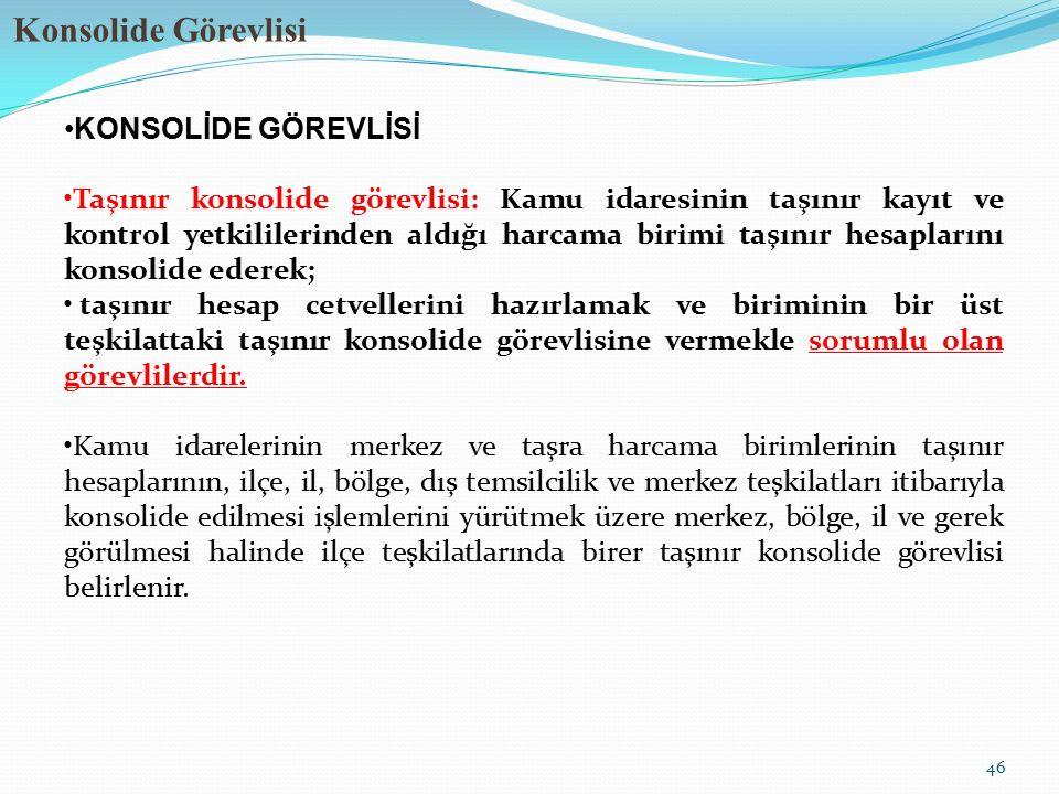 Konsolide Görevlisi 46 KONSOLİDE GÖREVLİSİ Taşınır konsolide görevlisi: Kamu idaresinin taşınır kayıt ve kontrol yetkililerinden aldığı harcama birimi