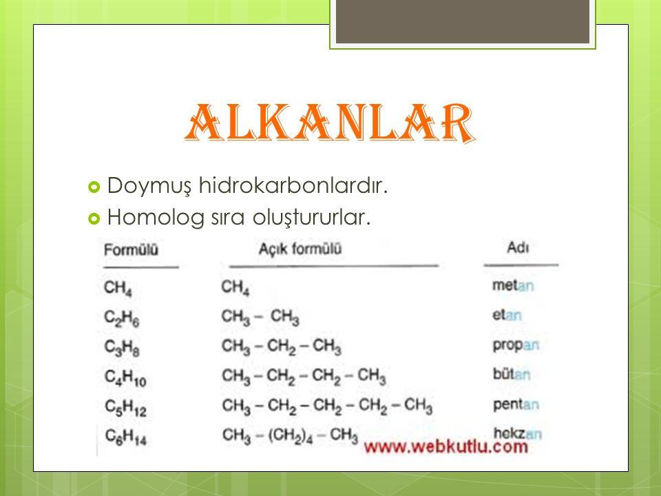 ALKANLAR  Doymuş hidrokarbonlardır.  Homolog sıra oluştururlar.