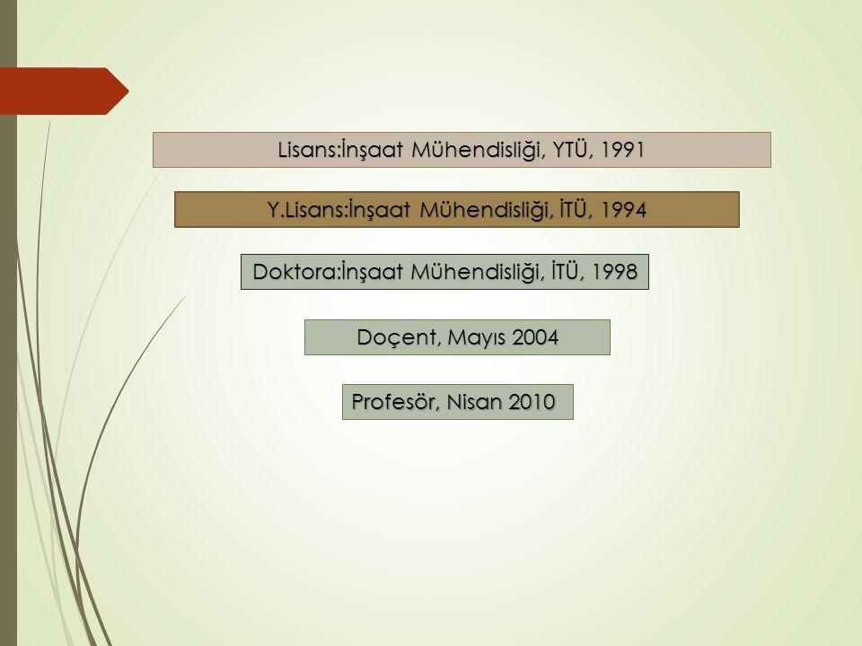 Lisans:İnşaat Mühendisliği, YTÜ, 1991 Y.Lisans:İnşaat Mühendisliği, İTÜ, 1994 Doktora:İnşaat Mühendisliği, İTÜ, 1998 Doçent, Mayıs 2004 Profesör, Nisan 2010