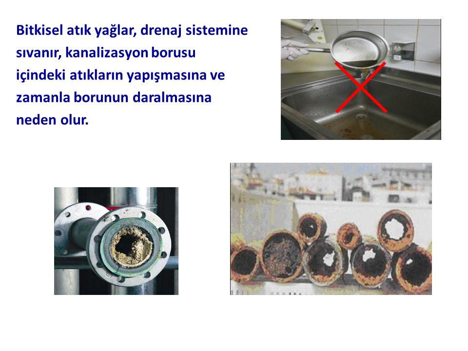 Bitkisel atık yağlar, drenaj sistemine sıvanır, kanalizasyon borusu içindeki atıkların yapışmasına ve zamanla borunun daralmasına neden olur.