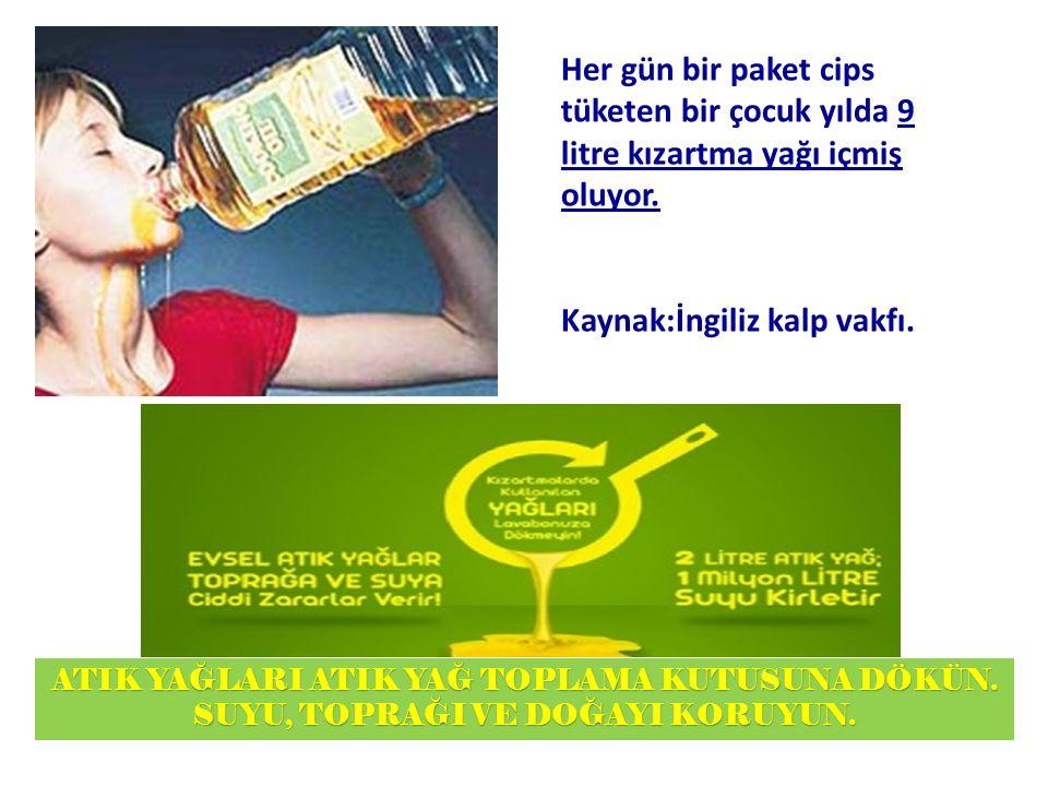 Her gün bir paket cips tüketen bir çocuk yılda 9 litre kızartma yağı içmiş oluyor.