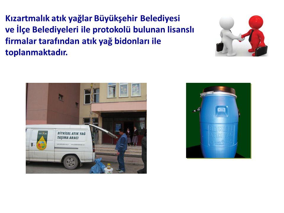 Kızartmalık atık yağlar Büyükşehir Belediyesi ve İlçe Belediyeleri ile protokolü bulunan lisanslı firmalar tarafından atık yağ bidonları ile toplanmaktadır.