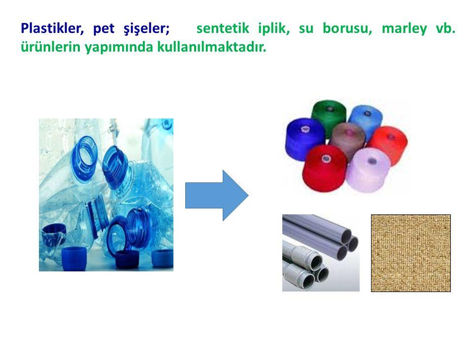 Plastikler, pet şişeler; sentetik iplik, su borusu, marley vb.