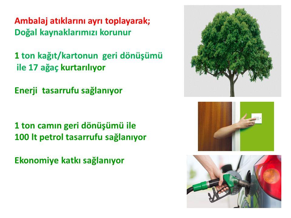 Ambalaj atıklarını ayrı toplayarak; Doğal kaynaklarımızı korunur 1 ton kağıt/kartonun geri dönüşümü ile 17 ağaç kurtarılıyor Enerji tasarrufu sağlanıyor 1 ton camın geri dönüşümü ile 100 lt petrol tasarrufu sağlanıyor Ekonomiye katkı sağlanıyor