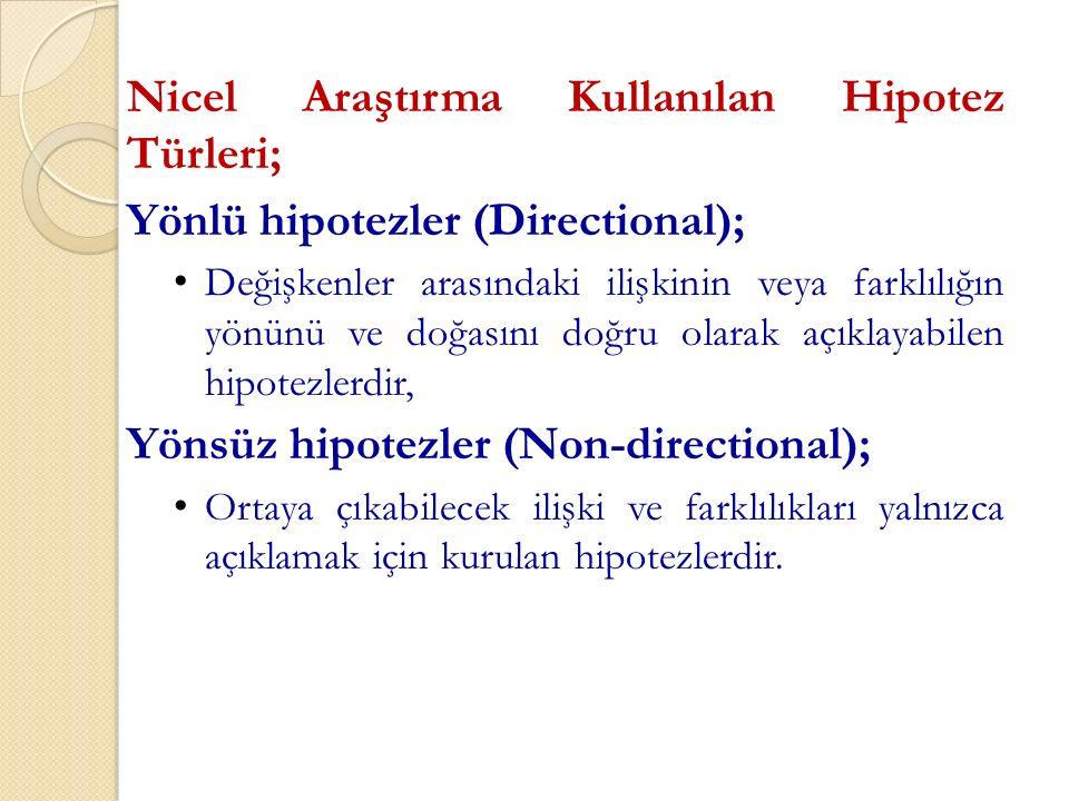 Nicel Araştırma Kullanılan Hipotez Türleri; Yönlü hipotezler (Directional); Değişkenler arasındaki ilişkinin veya farklılığın yönünü ve doğasını doğru olarak açıklayabilen hipotezlerdir, Yönsüz hipotezler (Non-directional); Ortaya çıkabilecek ilişki ve farklılıkları yalnızca açıklamak için kurulan hipotezlerdir.