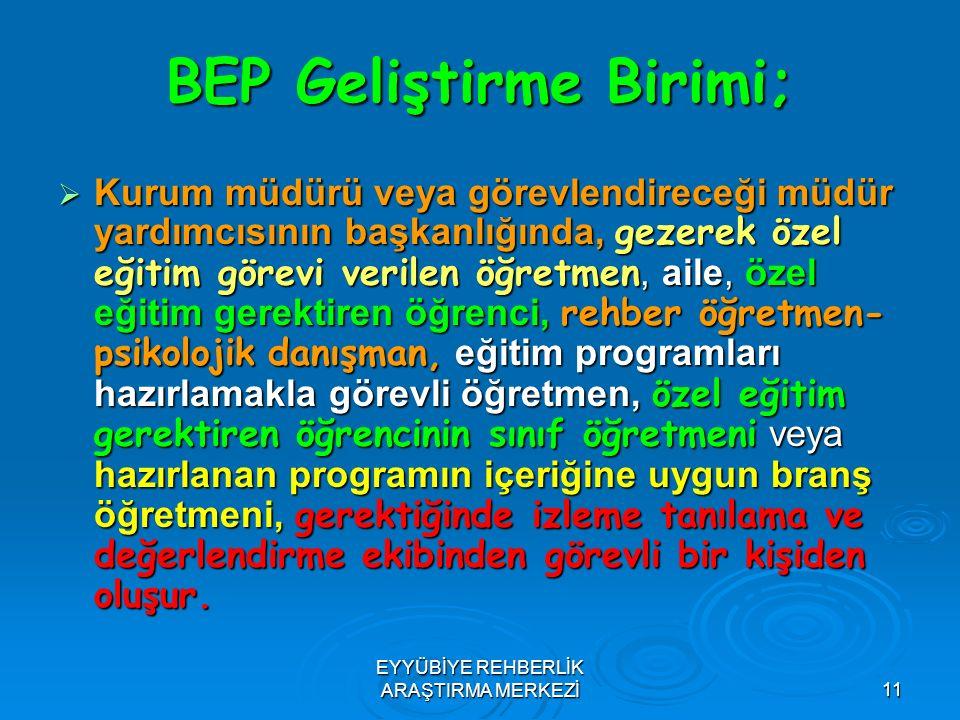 11 BEP Geliştirme Birimi;  Kurum müdürü veya görevlendireceği müdür yardımcısının başkanlığında, gezerek özel eğitim görevi verilen öğretmen, aile, ö
