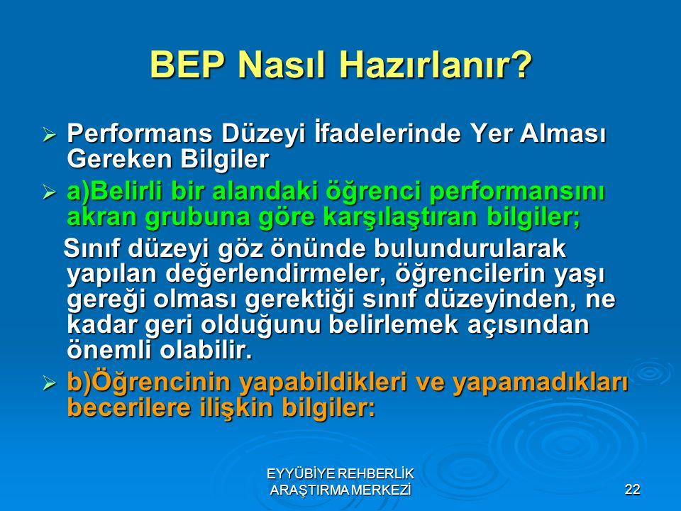 22 BEP Nasıl Hazırlanır?  Performans Düzeyi İfadelerinde Yer Alması Gereken Bilgiler  a)Belirli bir alandaki öğrenci performansını akran grubuna gör
