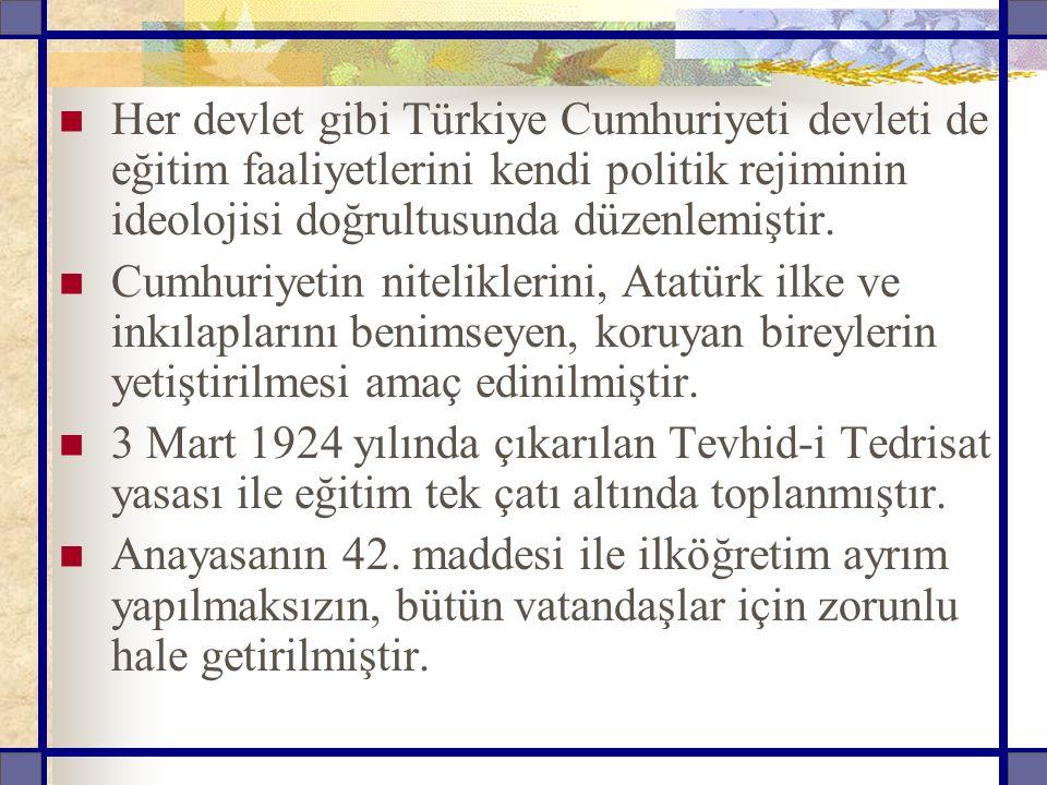 Her devlet gibi Türkiye Cumhuriyeti devleti de eğitim faaliyetlerini kendi politik rejiminin ideolojisi doğrultusunda düzenlemiştir.