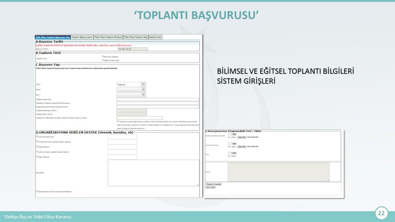Türkiye İlaç ve Tıbbi Cihaz Kurumu 'TOPLANTI BAŞVURUSU' 22 BİLİMSEL VE EĞİTSEL TOPLANTI BİLGİLERİ SİSTEM GİRİŞLERİ