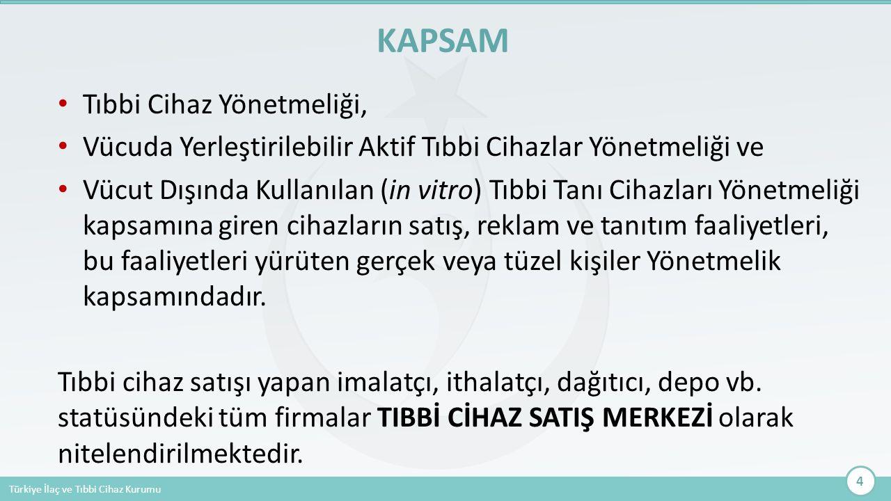 Türkiye İlaç ve Tıbbi Cihaz Kurumu Tıbbi Cihaz Yönetmeliği, Vücuda Yerleştirilebilir Aktif Tıbbi Cihazlar Yönetmeliği ve Vücut Dışında Kullanılan (in