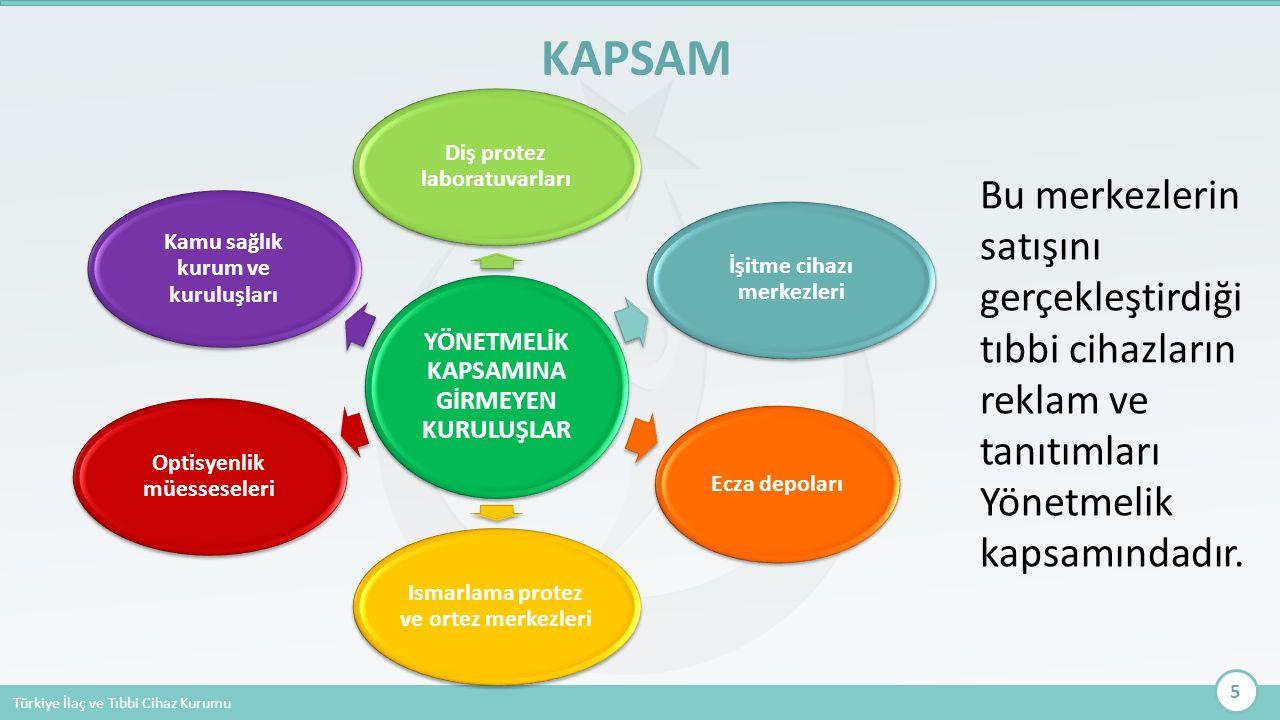 Türkiye İlaç ve Tıbbi Cihaz Kurumu Bu merkezlerin satışını gerçekleştirdiği tıbbi cihazların reklam ve tanıtımları Yönetmelik kapsamındadır. KAPSAM 5