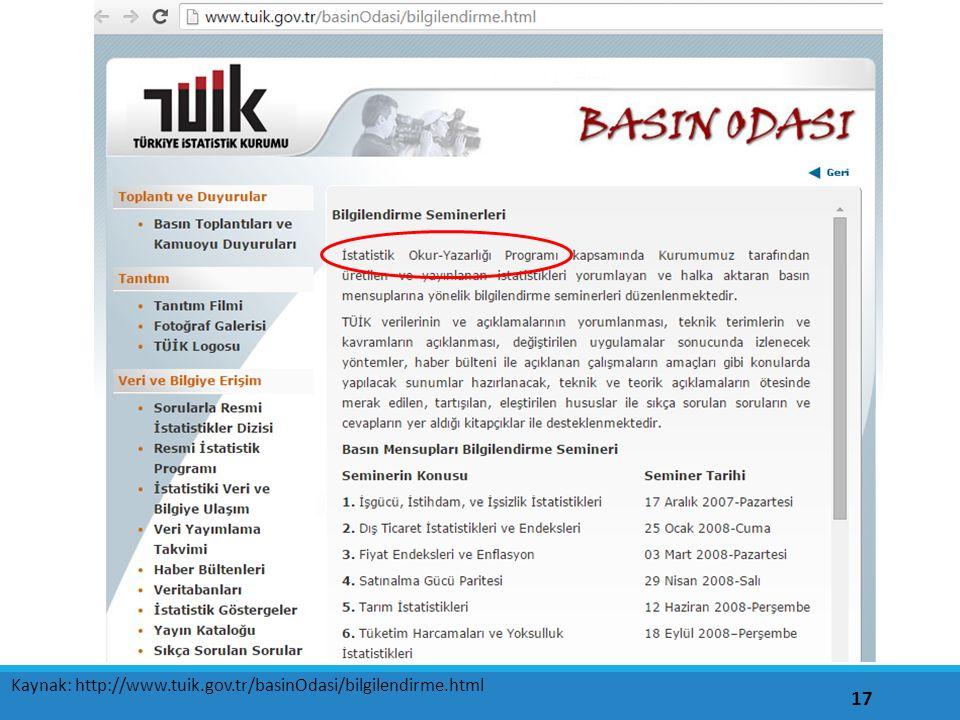 17 Kaynak: http://www.tuik.gov.tr/basinOdasi/bilgilendirme.html