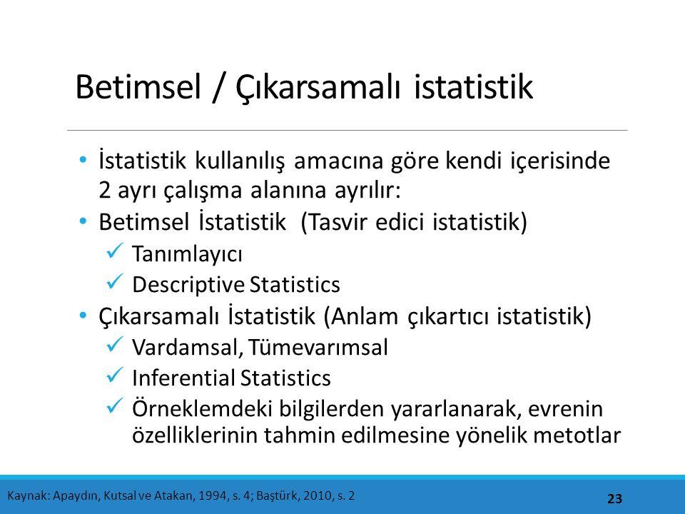 Betimsel / Çıkarsamalı istatistik İstatistik kullanılış amacına göre kendi içerisinde 2 ayrı çalışma alanına ayrılır: Betimsel İstatistik (Tasvir edici istatistik) Tanımlayıcı Descriptive Statistics Çıkarsamalı İstatistik (Anlam çıkartıcı istatistik) Vardamsal, Tümevarımsal Inferential Statistics Örneklemdeki bilgilerden yararlanarak, evrenin özelliklerinin tahmin edilmesine yönelik metotlar 23 Kaynak: Apaydın, Kutsal ve Atakan, 1994, s.