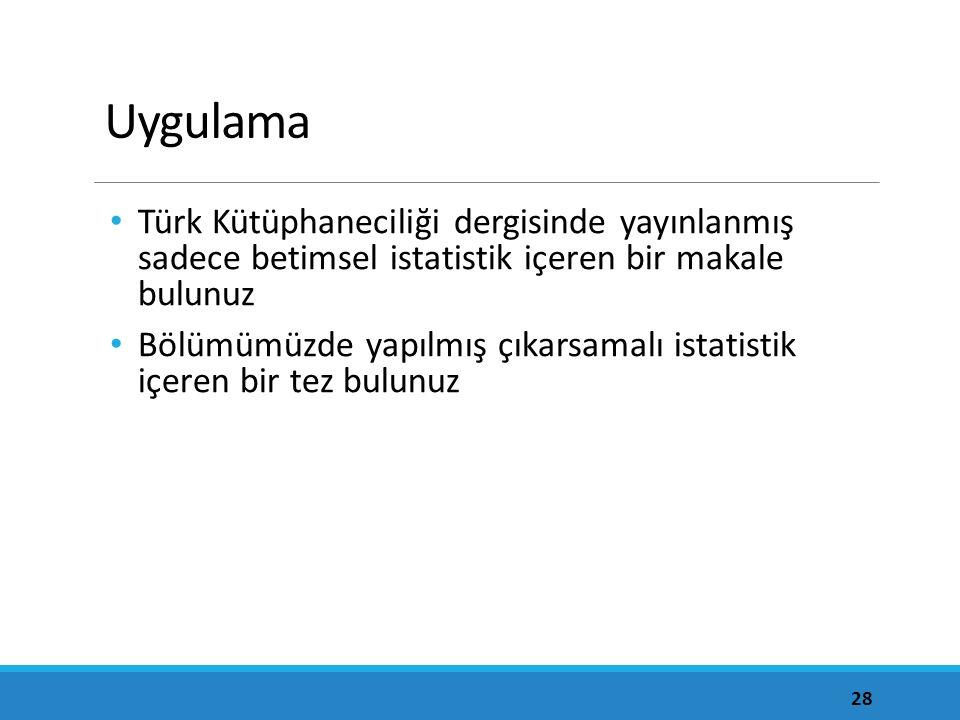 Uygulama Türk Kütüphaneciliği dergisinde yayınlanmış sadece betimsel istatistik içeren bir makale bulunuz Bölümümüzde yapılmış çıkarsamalı istatistik içeren bir tez bulunuz 28