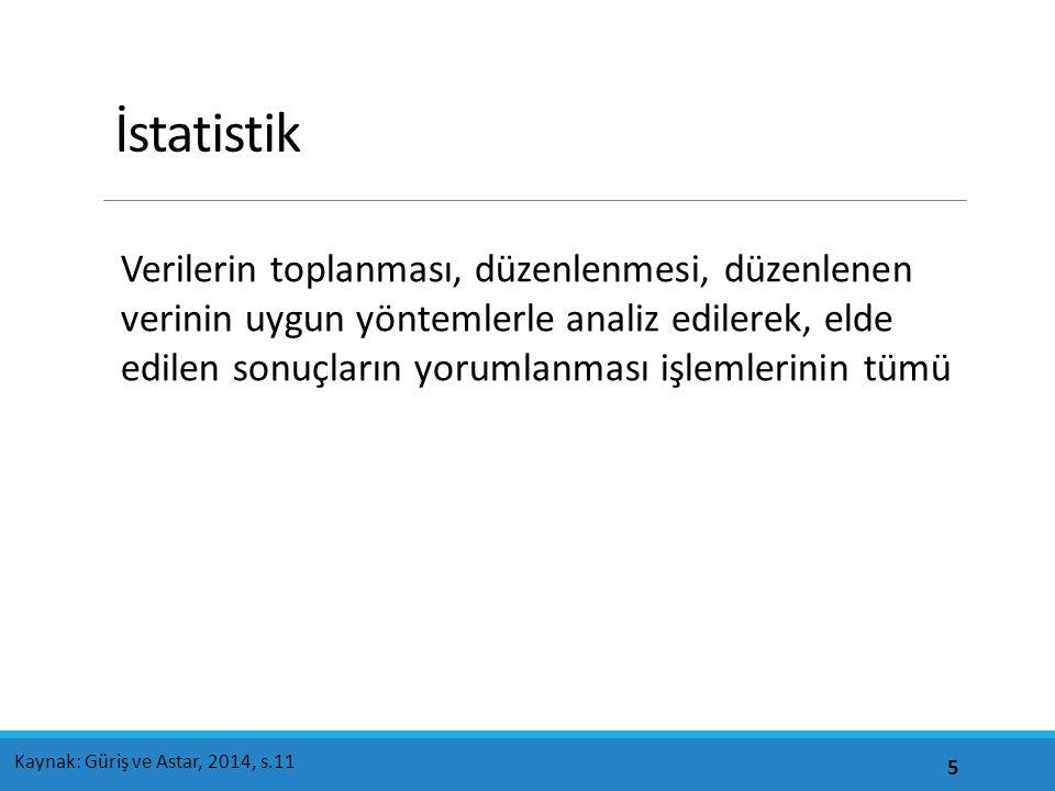 İstatistik Verilerin toplanması, düzenlenmesi, düzenlenen verinin uygun yöntemlerle analiz edilerek, elde edilen sonuçların yorumlanması işlemlerinin tümü 5 Kaynak: Güriş ve Astar, 2014, s.11