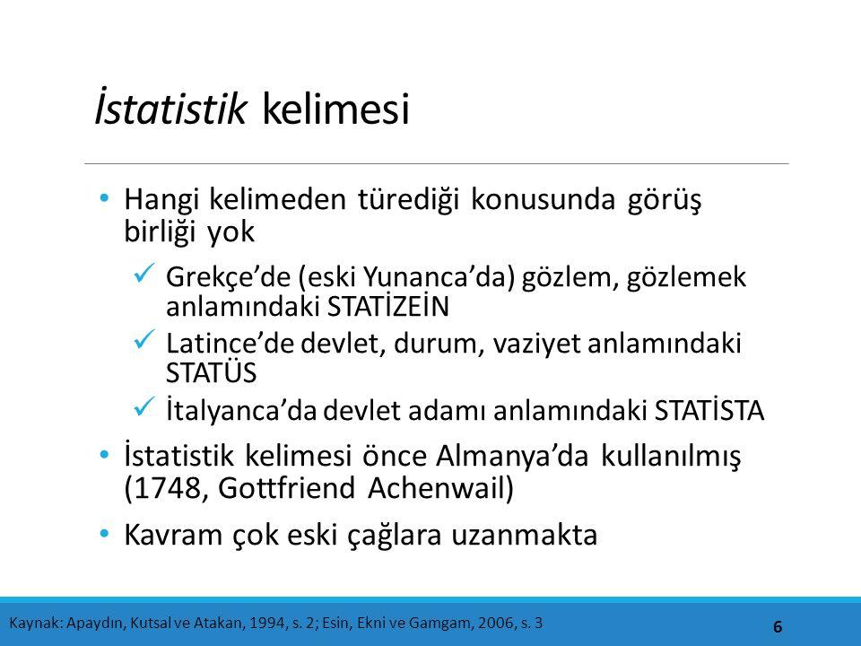 İstatistik kelimesi Hangi kelimeden türediği konusunda görüş birliği yok Grekçe'de (eski Yunanca'da) gözlem, gözlemek anlamındaki STATİZEİN Latince'de devlet, durum, vaziyet anlamındaki STATÜS İtalyanca'da devlet adamı anlamındaki STATİSTA İstatistik kelimesi önce Almanya'da kullanılmış (1748, Gottfriend Achenwail) Kavram çok eski çağlara uzanmakta 6 Kaynak: Apaydın, Kutsal ve Atakan, 1994, s.