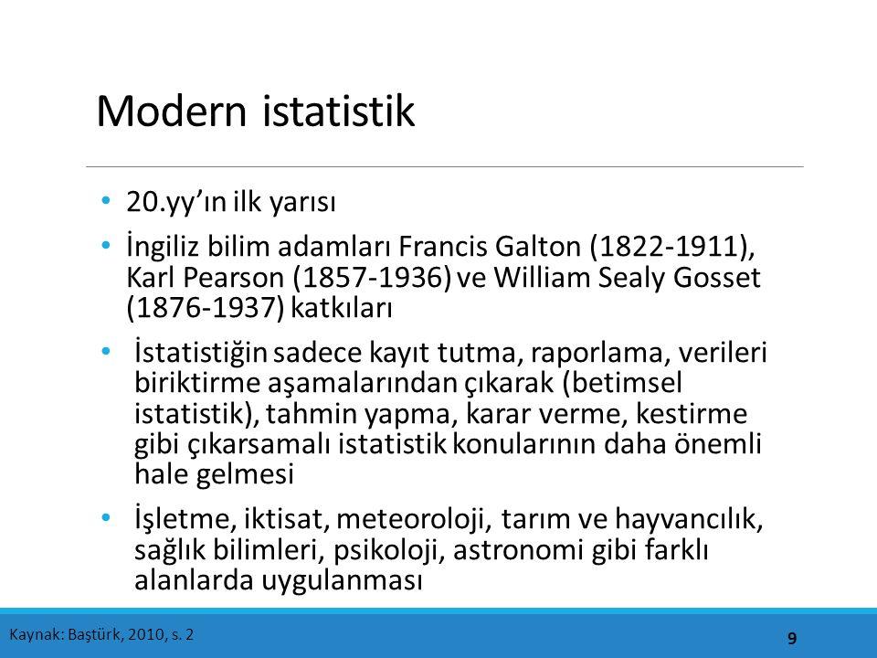 Modern istatistik 20.yy'ın ilk yarısı İngiliz bilim adamları Francis Galton (1822-1911), Karl Pearson (1857-1936) ve William Sealy Gosset (1876-1937) katkıları İstatistiğin sadece kayıt tutma, raporlama, verileri biriktirme aşamalarından çıkarak (betimsel istatistik), tahmin yapma, karar verme, kestirme gibi çıkarsamalı istatistik konularının daha önemli hale gelmesi İşletme, iktisat, meteoroloji, tarım ve hayvancılık, sağlık bilimleri, psikoloji, astronomi gibi farklı alanlarda uygulanması 9 Kaynak: Baştürk, 2010, s.