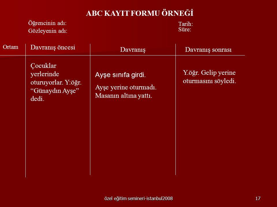 özel eğitim semineri-istanbul200816 1- ABC KAYDI Davranış öncesi ve sonrasında neler olup bittiğine ilişkin, ayrıntılı biçimde veri toplamak için doğr