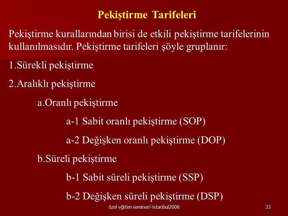özel eğitim semineri-istanbul200832 5. Pekiştireçler etkili pekiştireç tarifeleri kullanılarak uygulanmalıdır. 6. Pekiştireçler uygulayıcı tarafından