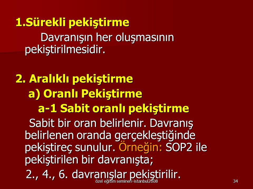 özel eğitim semineri-istanbul200833 Pekiştirme Tarifeleri Pekiştirme kurallarından birisi de etkili pekiştirme tarifelerinin kullanılmasıdır. Pekiştir