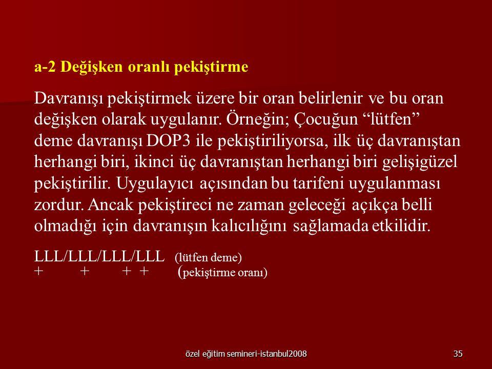 özel eğitim semineri-istanbul200834 1.Sürekli pekiştirme Davranışın her oluşmasının pekiştirilmesidir. Davranışın her oluşmasının pekiştirilmesidir. 2