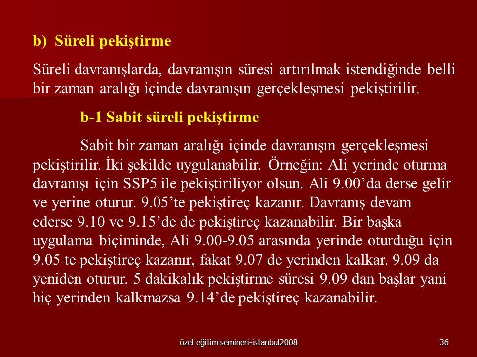 özel eğitim semineri-istanbul200835 a-2 Değişken oranlı pekiştirme Davranışı pekiştirmek üzere bir oran belirlenir ve bu oran değişken olarak uygulanı