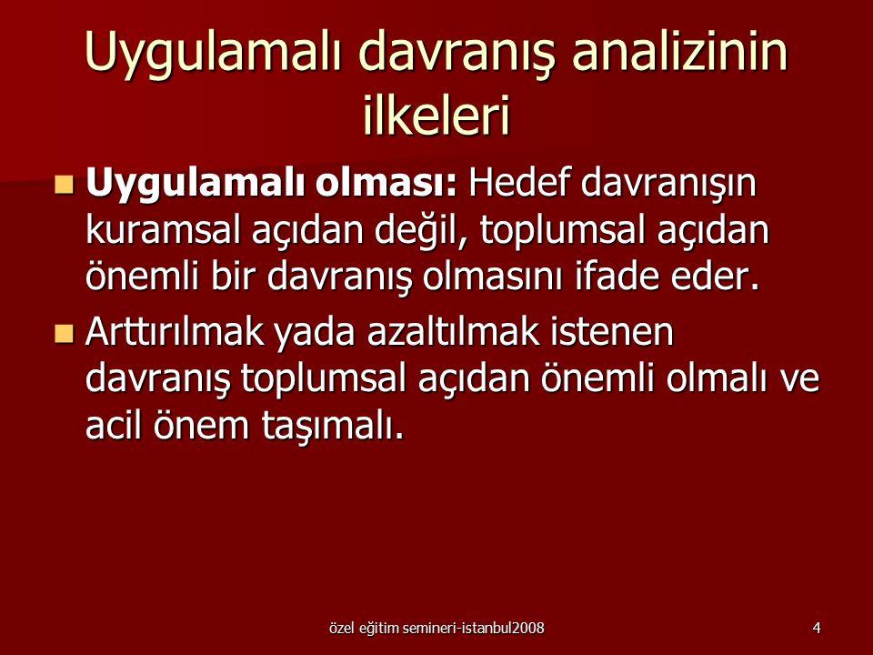 özel eğitim semineri-istanbul20083 Uygulamalı davranış analizi Uygulamalı davranış analizi, sosyal önemi olan davranışları değiştirmeyi amaçlayan, dav