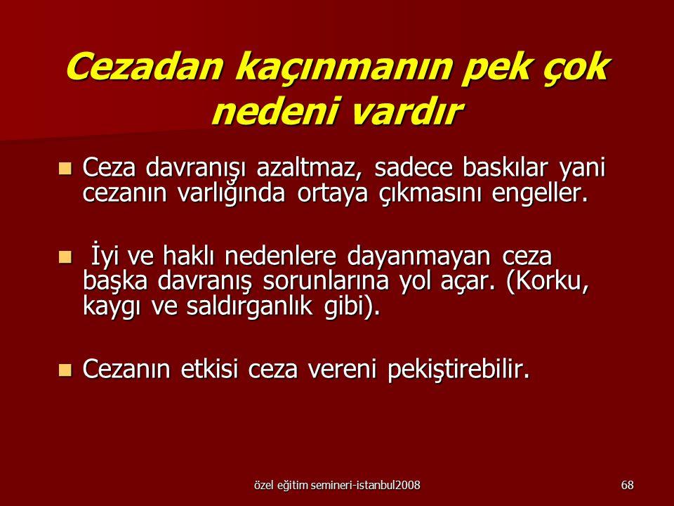 özel eğitim semineri-istanbul200867 Bedensel ceza Bu uygulama için bence uygulamacı davranış değiştirme yöntemlerini bir kez daha incelemeli. Bu uygul