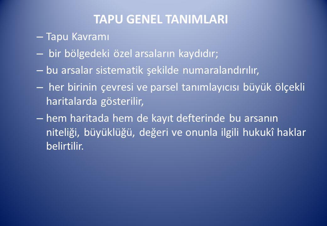 TAPU GENEL TANIMLARI – Tapu Kavramı – bir bölgedeki özel arsaların kaydıdır; – bu arsalar sistematik şekilde numaralandırılır, – her birinin çevresi v