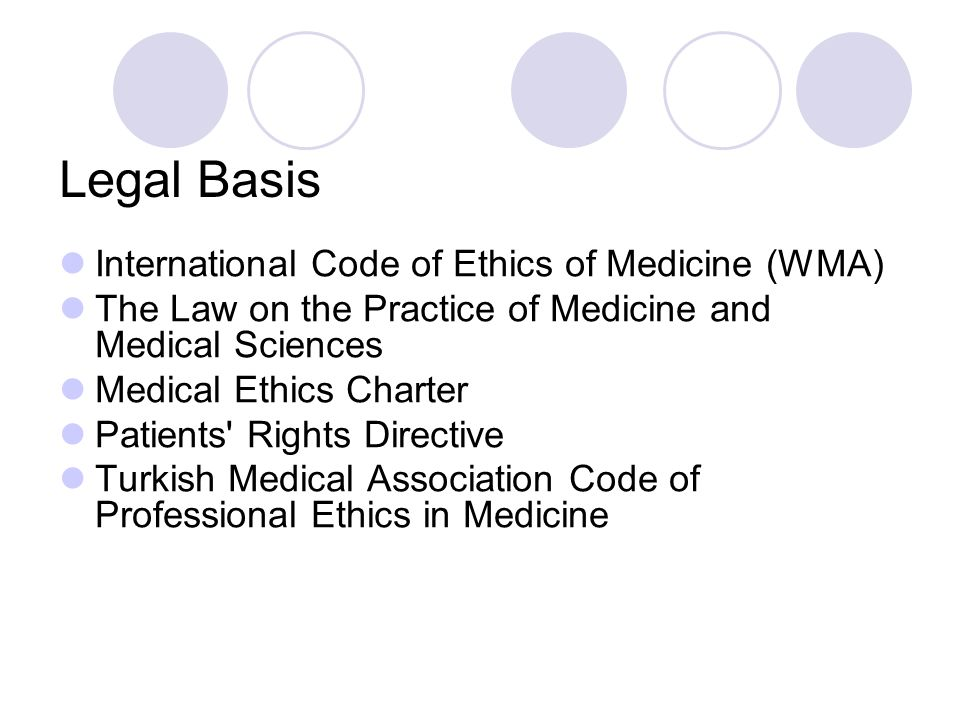 Legal Basis International Code of Ethics of Medicine (WMA) The Law on the Practice of Medicine and Medical Sciences Medical Ethics Charter Patients Rights Directive Turkish Medical Association Code of Professional Ethics in Medicine