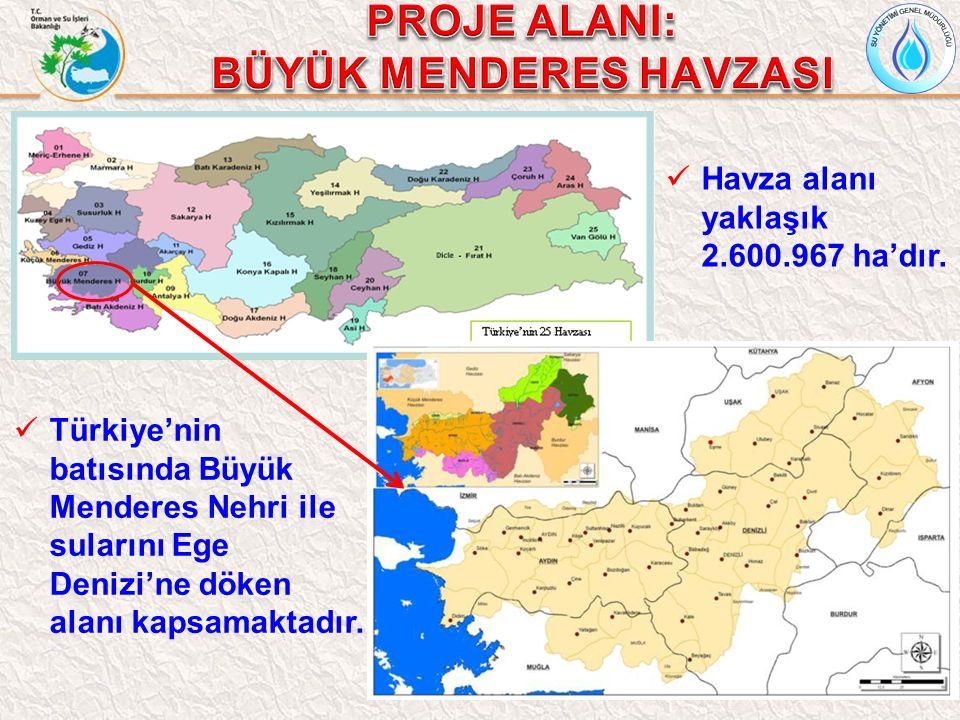 10 Havza alanı yaklaşık 2.600.967 ha'dır. Türkiye'nin batısında Büyük Menderes Nehri ile sularını Ege Denizi'ne döken alanı kapsamaktadır.