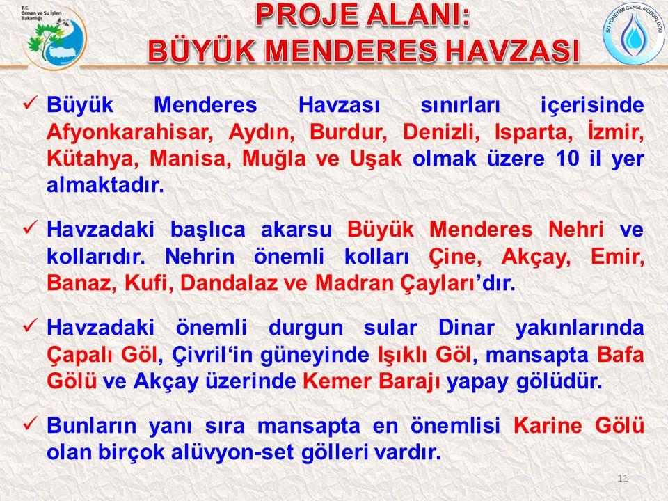 11 Büyük Menderes Havzası sınırları içerisinde Afyonkarahisar, Aydın, Burdur, Denizli, Isparta, İzmir, Kütahya, Manisa, Muğla ve Uşak olmak üzere 10 il yer almaktadır.