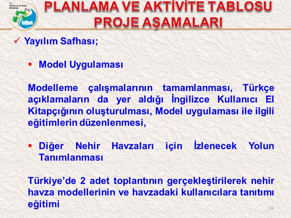 16 Yayılım Safhası;  Model Uygulaması Modelleme çalışmalarının tamamlanması, Türkçe açıklamaların da yer aldığı İngilizce Kullanıcı El Kitapçığının oluşturulması, Model uygulaması ile ilgili eğitimlerin düzenlenmesi,  Diğer Nehir Havzaları için İzlenecek Yolun Tanımlanması Türkiye'de 2 adet toplantının gerçekleştirilerek nehir havza modellerinin ve havzadaki kullanıcılara tanıtımı eğitimi